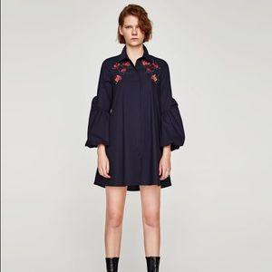 Zara Basic Embroidered Shirt Dress Size XS
